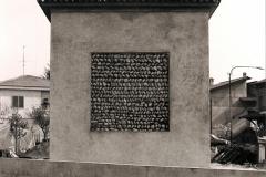 Particolare del muro restaurato, ma lasciato in originale.